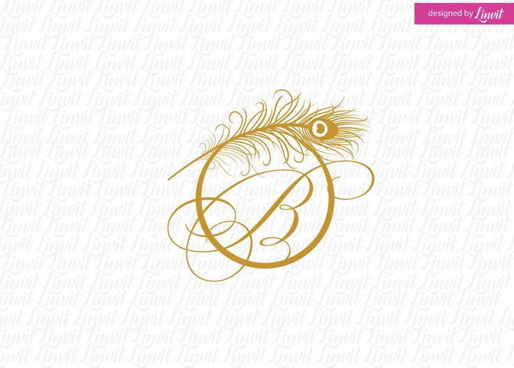 Peacock Feather Wedding Logo by Linvit on Etsy