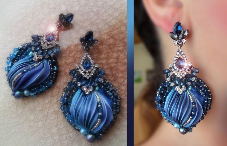 Earrings by Serena Di Mercione --- beadembroidery, shibori silk, swarovski