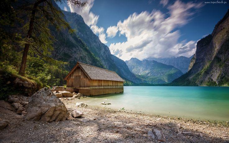 Góry, Alpy, Jezioro, Kamienie, Chmury, Domek