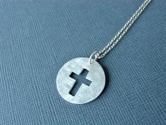 Cross necklace in matte sterling silver, simple unisex cross jewelry by Merie Kee Silver