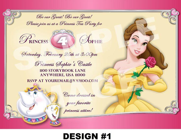 Beauty and the Beast Invitation - Belle Invitation - Disney Princess Invitation - Tea Party Girl - Mrs Potts, Chip - 3 DESIGNS, Photo Option. $10.00, via Etsy.