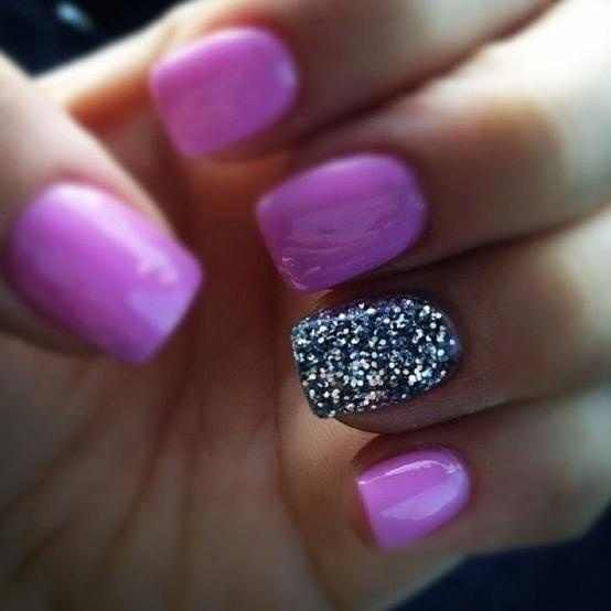 Purple nails with one silver sparkly nail<3