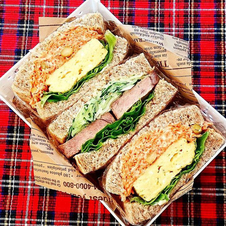 donchiさんのInstagram(@donpintan)   人参と厚焼き玉子のサンドイッチ
