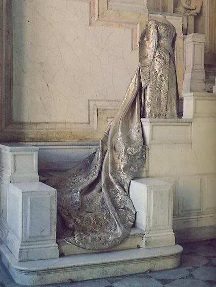 Russian coronation gown made of silver thread. Worn by Czarina Alexandra Feodorovnya