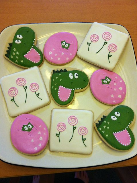 Alligator Cookies~                                         by Enticing Icing on Flickr, green, pink, cut from heart-shaped cutter
