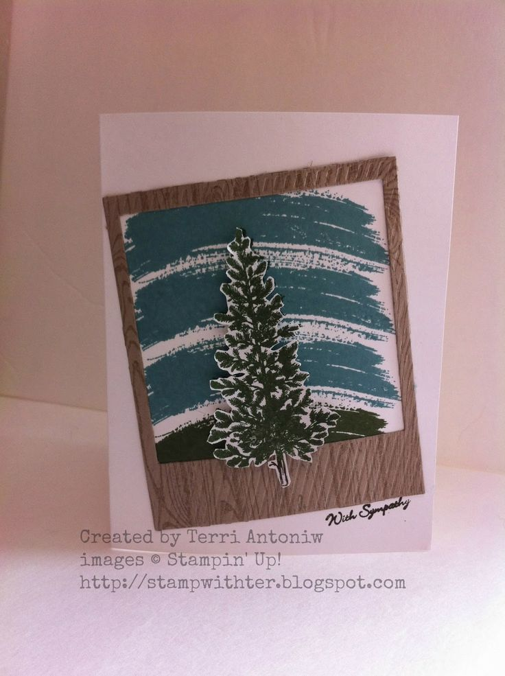 Created by Terri Antoniw - Sympathy Card - Work of Art, Lovely as a Tree, Hardwood, Teeny Tiny Wishes, On Film Framelits, Watercooler Challenge WCC01