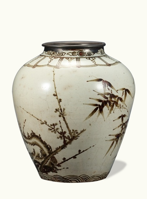 Joseon Dynasty (16th Century) Jar, White Porcelain with Plum and Bamboo Design in Underglaze Iron-Brown