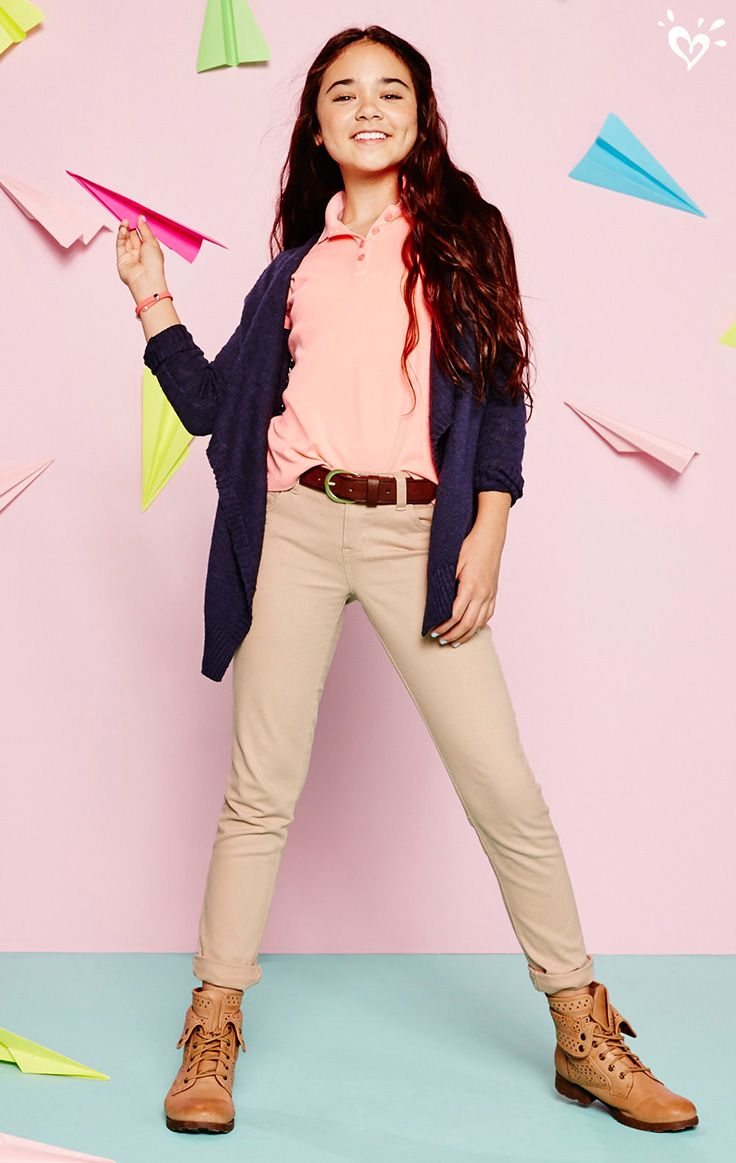 Who says school uniforms has to be boring? Add a cool belt, a hint of color, and rockin' footwear to fun up your look.