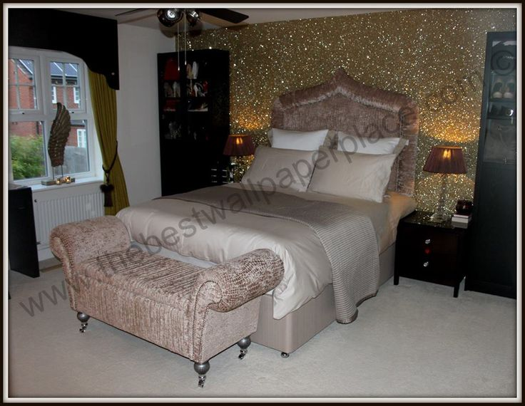 Master bedroom with sand glitter wallpaper view our 70 for Glitter wallpaper for bedroom
