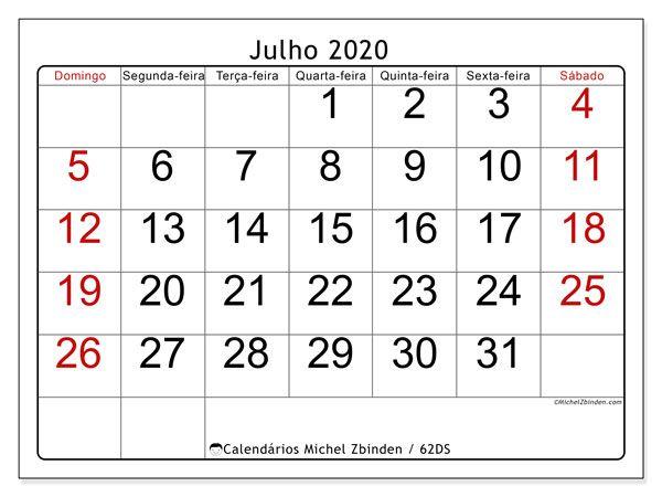 Calendario Julho 2020 62ds Com Imagens Calendario Para