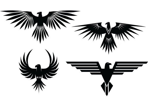 XOO Plate :: 4 Eagle Symbol Tattoo Style Vector Graphics - 4 Eagle symbols with spread wings - tattoo style - in vector Ai and Eps.