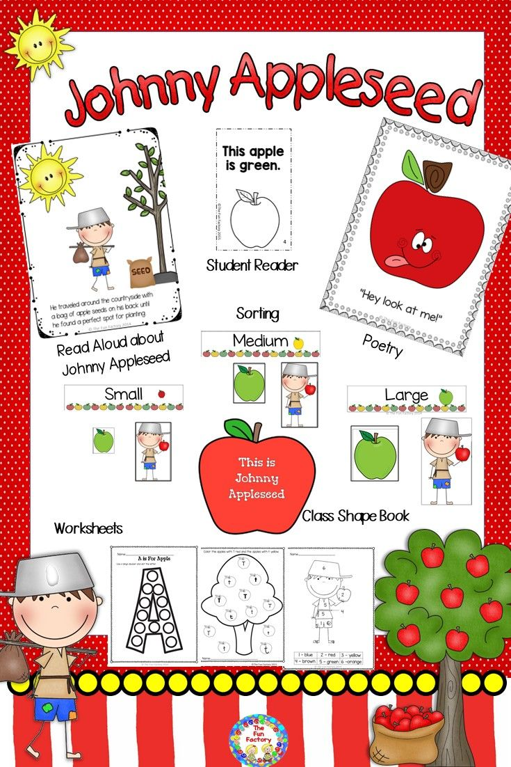 PK and Kindergarten students will learn about the real Johnny Appleseed, John Chapman, when you read aloud this informational book. They can make a class book by drawing Johnny Appleseed during various parts of his life.  Also included are a color word student reader/color book an original fingerplay a poem a size sorting activity worksheets