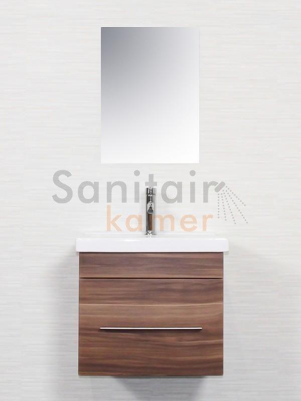 Saniclear Calypso Badkamermeubel 55 walnoot - SK273   Sanitairkamer.nl