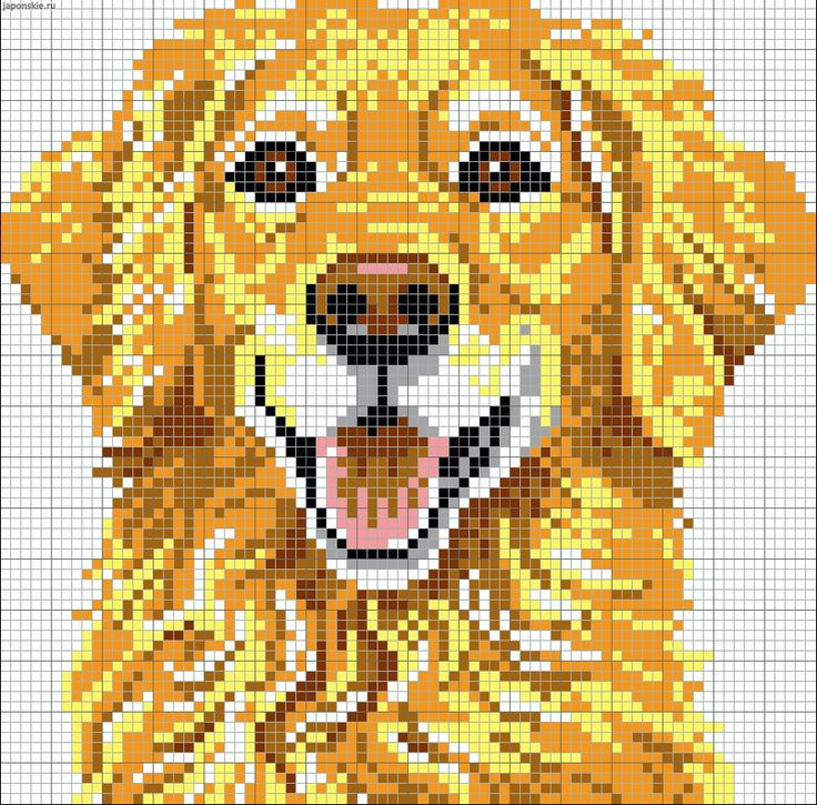 Mans best friend pattern / chart for cross stitch, knitting, knotting, beading, weaving, pixel art, and other crafting projects.