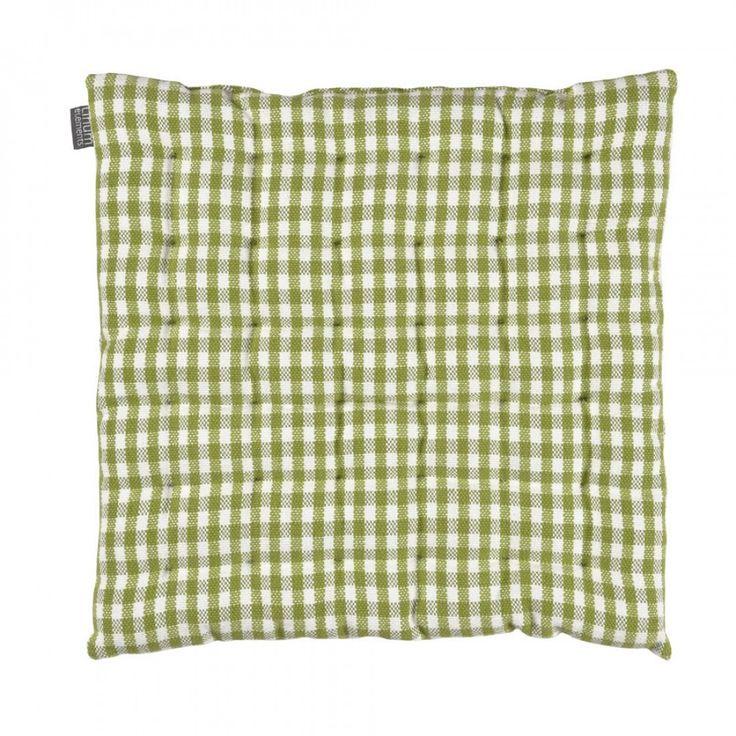 Zitkussen Linum Osby groen geruit, 40x40cm