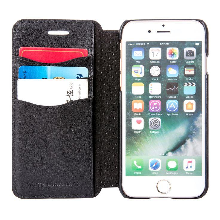 INONES 本革 iPhone 7 ケース 手帳型 (硬度 9H 液晶保護 強化 ガラスフィルム) アイフォン 7 ケース 本革レザー カード入れ スタンド機能 マグネット付き スリム 薄型【ブラック】