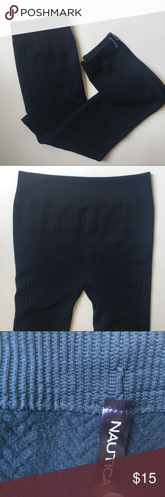 "NWOT Nautica Leggings in  Navy These Nautica leggings are in perfect condition, and never worn! The fleece still has that never washed, new out of box feel. The size tag says ""S/M"" They have plenty of stretch to them. They have a nice cable knit design and are in Navy blue. Perfect for fall. Let me know if you have any questions. I love to make awesome deals on bundles. Check out the other items in my closet. <3 Nautica Pants Leggings"