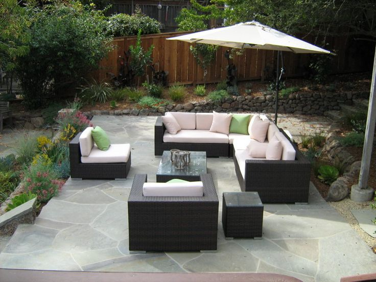 modern furniture and garden umbrella for outdoor patio decorating ideas using natural stone flooring plans - Patio Garden Ideas