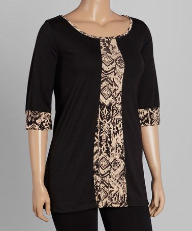 Look what I found on #zulily! Black & Taupe Abstract-Panel Scoop Neck Tunic - Plus #zulilyfinds
