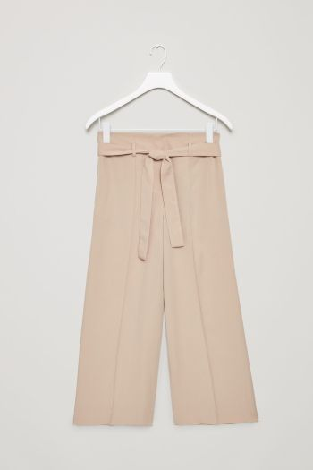 COS image 2 of Belted high-waist trousers in Khaki Beige