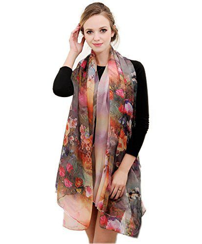 Multi-Season Floral Chiffon Scarf   Our Daily Style