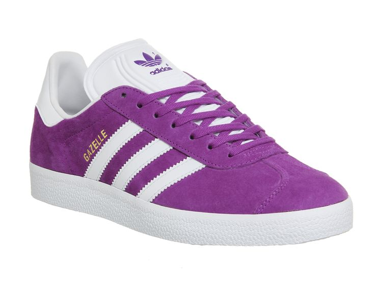 Buy Shock Purple White Gold Metallic Adidas Gazelle from OFFICE.co.uk.