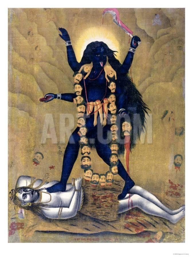 Hindu Goddess Kali Dancing on Siva Giclee Print at Art.com