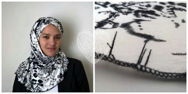 A black and white leopard print pin free hijab. At Ladybutterfly.