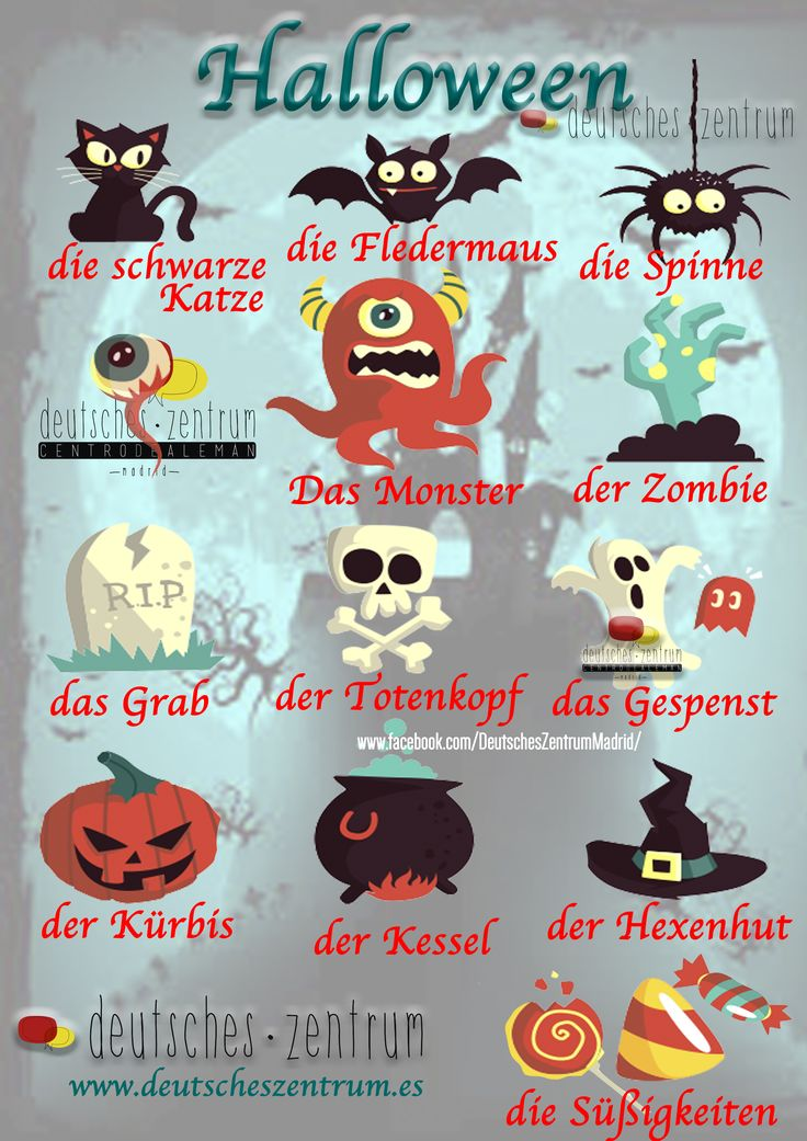 Halloween Deutsch Wortschatz Grammatik Alemán German DAF Vocabulario