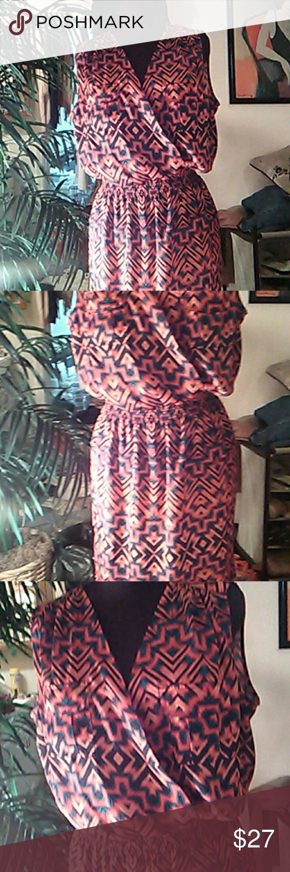 Aztec print multicolor print Crossover , sleeveless dress in an super cute and Colorful Aztec PRINT Great for any occasion Anne Klein Dresses Midi
