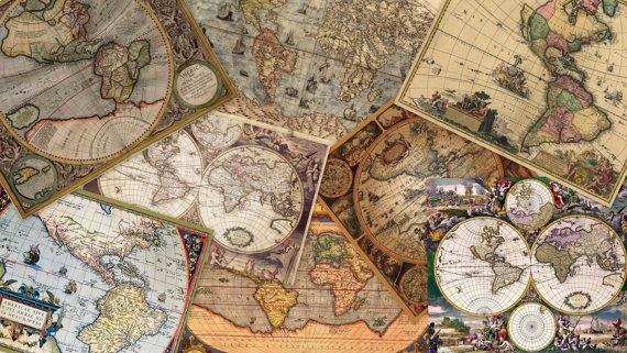 Instant Download - Digital Collage - Vintage Maps - 40 piece collection