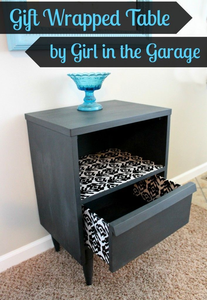 Awesome table makeover with Chalk Paint, Mod Podge, and wrapping paper!