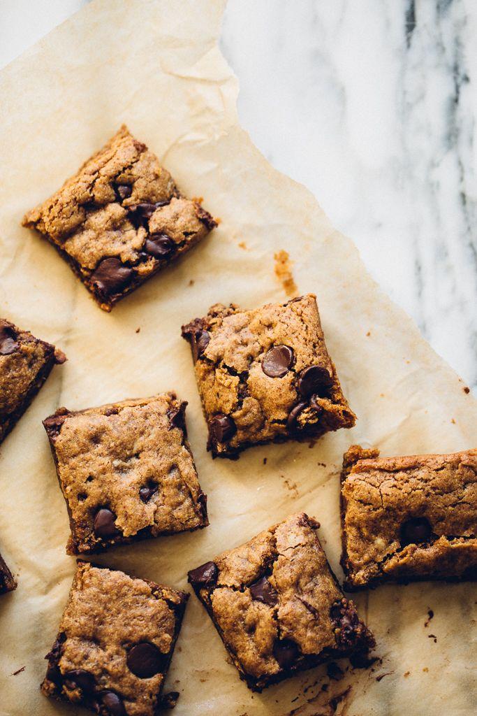 almond butter oatmeal chocolate chip cookie bars   vegan, gluten-free