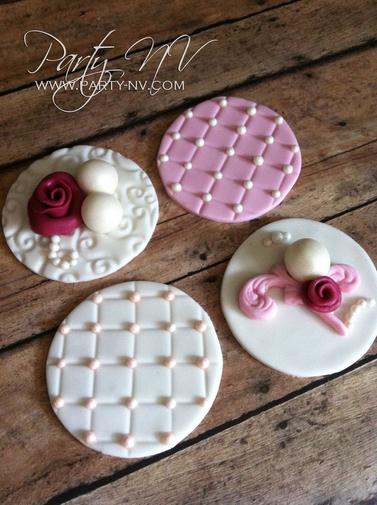 EDIBLE (Fondant Cupcake or Cookie Toppers) - Vintage, Shabby Romance. $36.00, via Etsy.