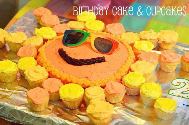 Sunshine cake w/mini cupcakes
