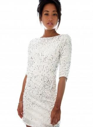 White Tail Dress Sequins 3 4 Sleeves Sequin Dresses Pinterest With And