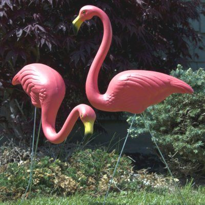 Tall plastic pink flamingos lawn decor beach party