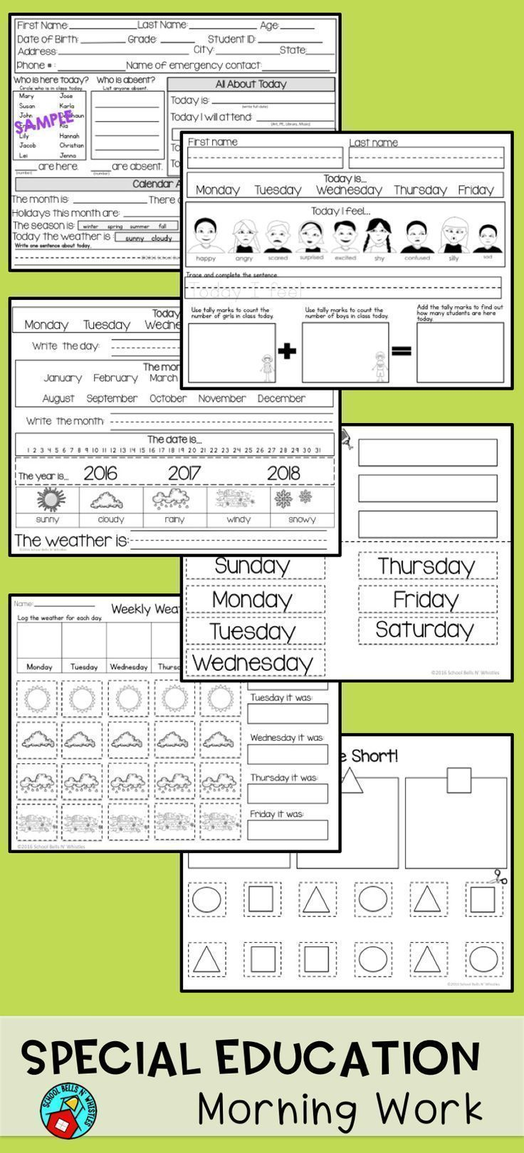 24 pages of morning work for the special education classroom! Practice with personal information, weather, calendar, sorting, and more. Can be customized with your student's names!