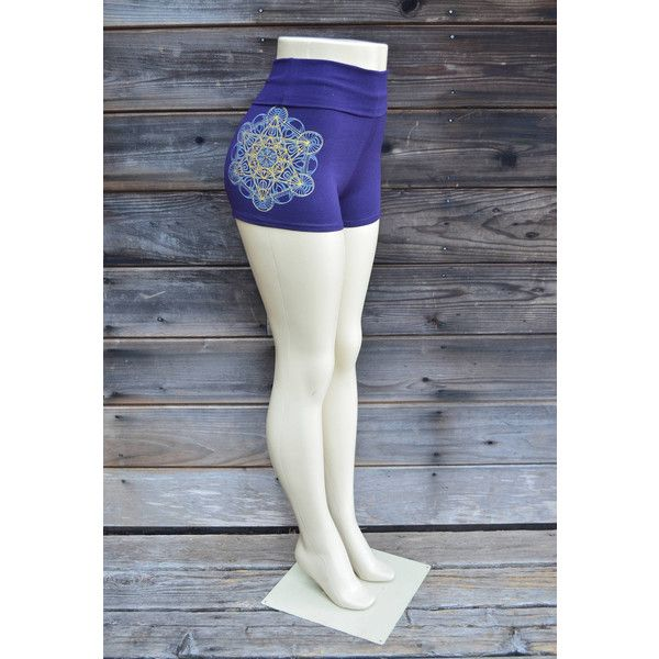 Purple Metatron's Cube High Waisted Hot Shorts Glow in the Dark Womens... ($40) ❤ liked on Polyvore featuring shorts, grey, women's clothing, gray shorts, high rise shorts, grey shorts, embellished shorts and short shorts