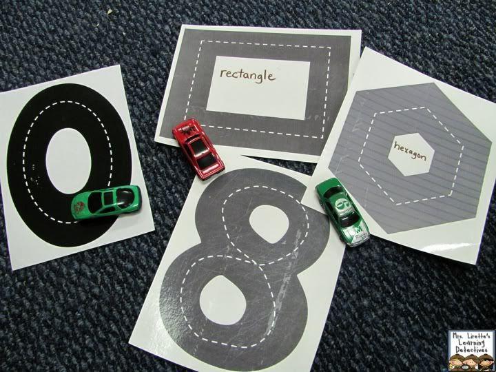 Race met je auto over de getallen en vormen.  (zie http://www.makinglearningfun.com/themepages/RacecarHighwayNumbers.htm voor kant-en-klare afbeeldingen. Afdrukken... lamineren... klaar!)