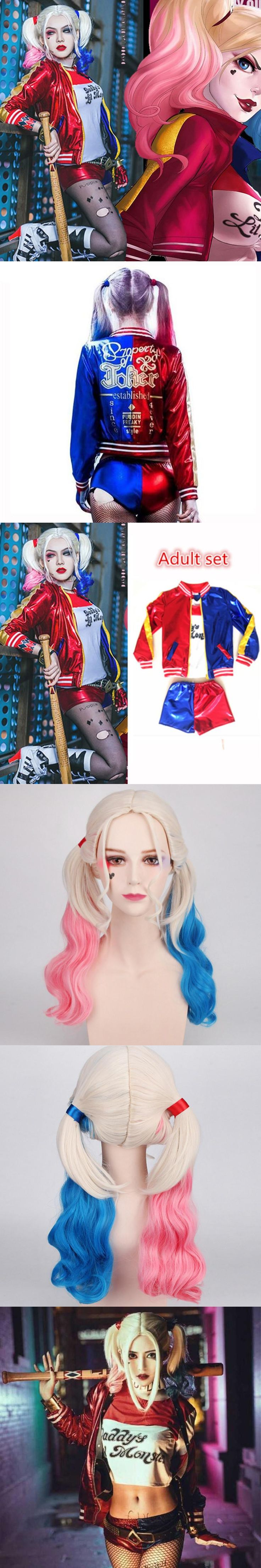 Christmas New Year Girls Women Adult Suicide Squad Harley Quinn Cosplay Costumes Jacket Daddy's Lil Monster T Shirt Shorts Sets