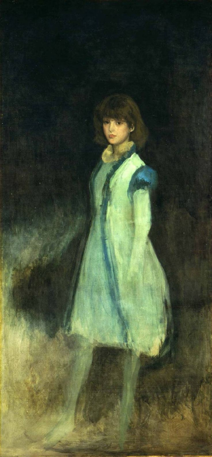 dappledwithshadow:  Т он Blue Girl: Портрет Конни Гилкрист Джеймс Макнейл Уистлер, 1879