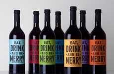 Wine label Eat, drink, merry
