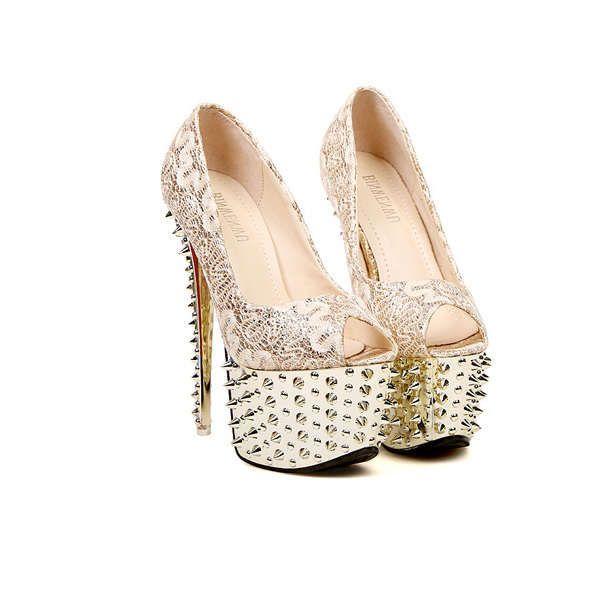 Women Sexy Lace Rivet Flatform Open Toe High Heels Shoes