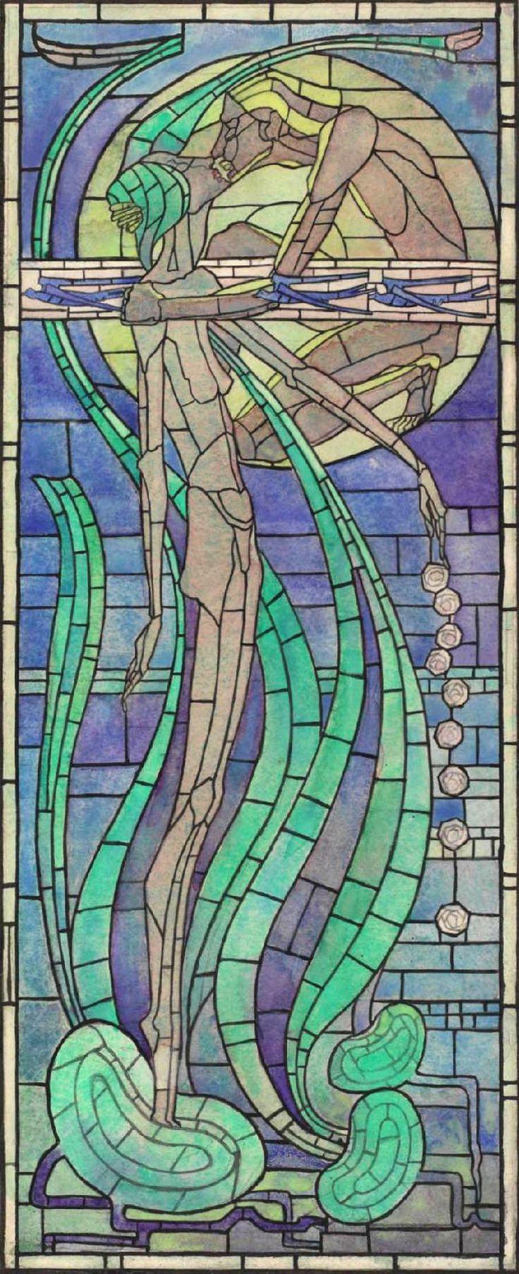 "Margaret Macdonald Mackintosh (1865-1933) - ""Summer"" Leaded Glass Design. Watercolour on Paper. Circa 1894. Hunterian Art Gallery. University of Glasgow, Glasgow, Scotland."