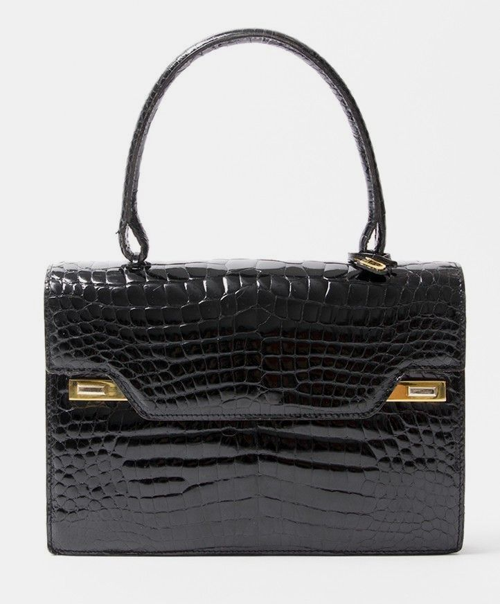 buy safe online second hand designer vintage delvaux croco top handle bag  best price second hand 830f356a16c24