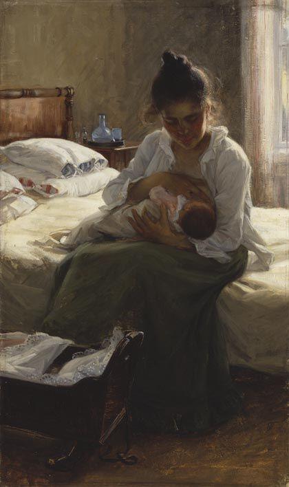 Elin Danielson-Gambogi, Äiti, 1893, öljy kankaalle, 95 cm x 57 cm, Ateneumin taidemuseo.  Kuva: Kansallisgalleria / Antti Kuivalainen.