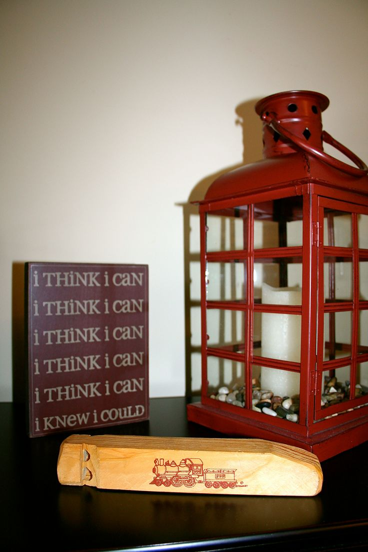 "Accessories for a Little Boy Train Theme Bedroom...a wooden train whistle & ""i think i can, i think i can"""