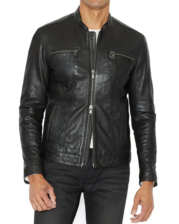 John Varvatos Star USA Leather Band Collar Moto Jacket