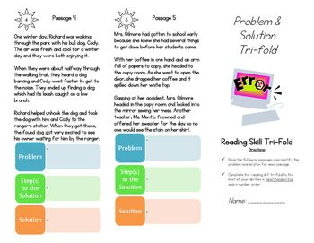 Problem and solution worksheets reading comprehension